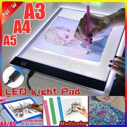A5/A4 /A3 USB Powered Ultra-thin LED Drawing Board Pad Animation Tracing Light Box Lightbox Tablet Blank Canvas 3 level Dimming
