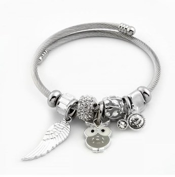 Pandora Gemstone Beaded White Owl Figured Steel Bracelet Vintage silver color charms bracelets for women bracelet