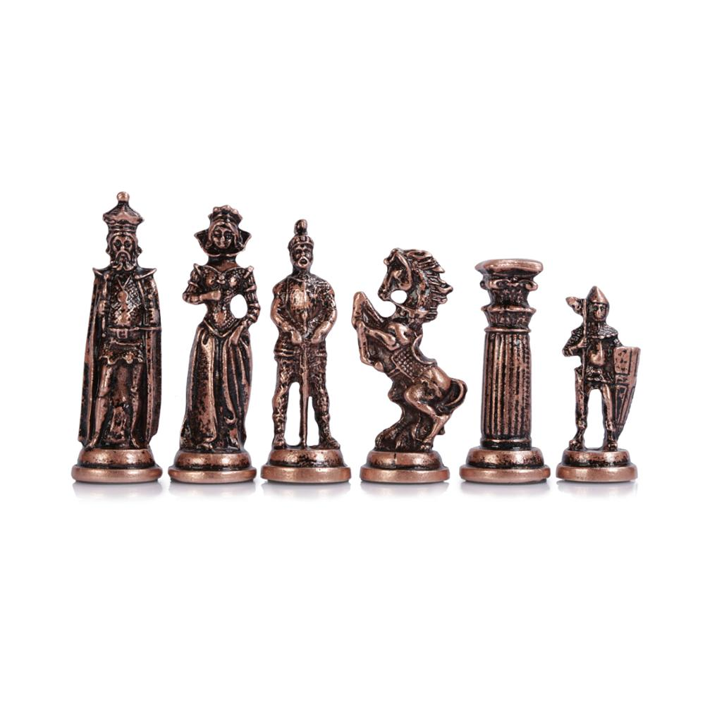 (Only Chess Pieces) Medieval British Army Antique Copper Handmade Cool Chess Pieces King 9 Cm Inc (Board Is Not Included)