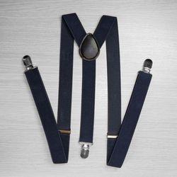 Подтяжки для брюк узкие (2.5 см, 3 клипсы, Синий) 50818