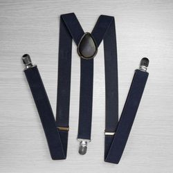 Pants suspenders narrow (2.5 cm, 3 clips, blue) 50818