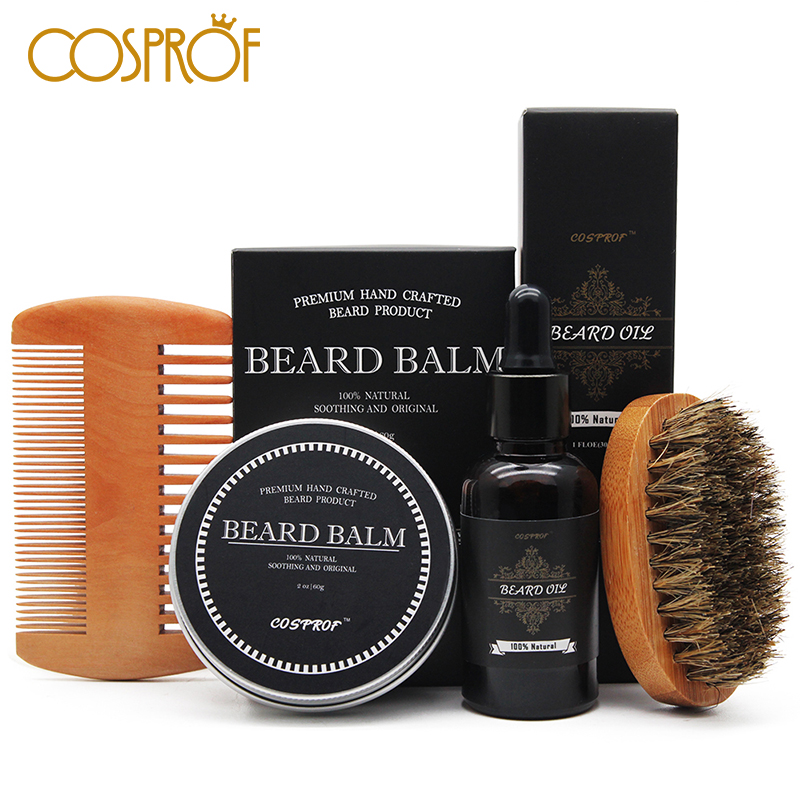 Cosprof Beard Balm Moustache Cream Beard Oil Set Conditioner Beard Balm Healthy Moisturizing Moustache Wax Brush Comb Natural image