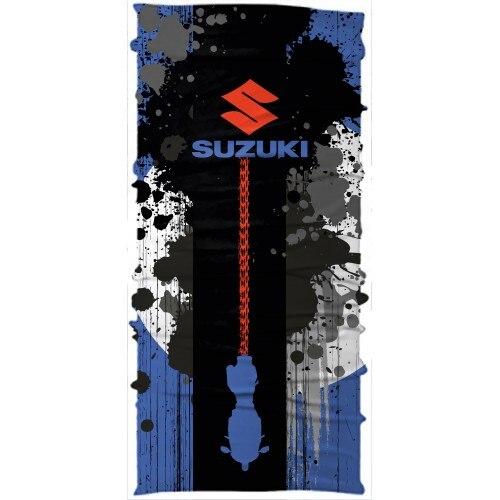 Purposeful Motorcycle Rider Headwear Buff Bandana Multiscarf Suzuki Logo Black Blue Relieving Heat And Thirst.