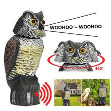 2021 realista pássaro scarer rotação cabeça som coruja prowler chamariz proteção repelente controle de pragas espantalho jardim quintal movimento