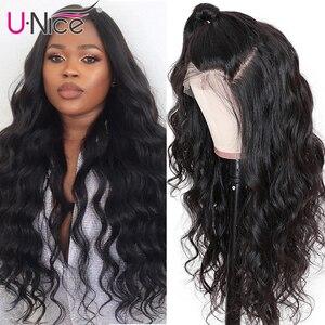 """Image 3 - Unice שיער 360 תחרה פרונטאלית פאה ברזילאי רמי גוף גל פאות 10 26 """"שיער טבעי פאות לנשים שחורות מראש קטף עם תינוק שיער"""