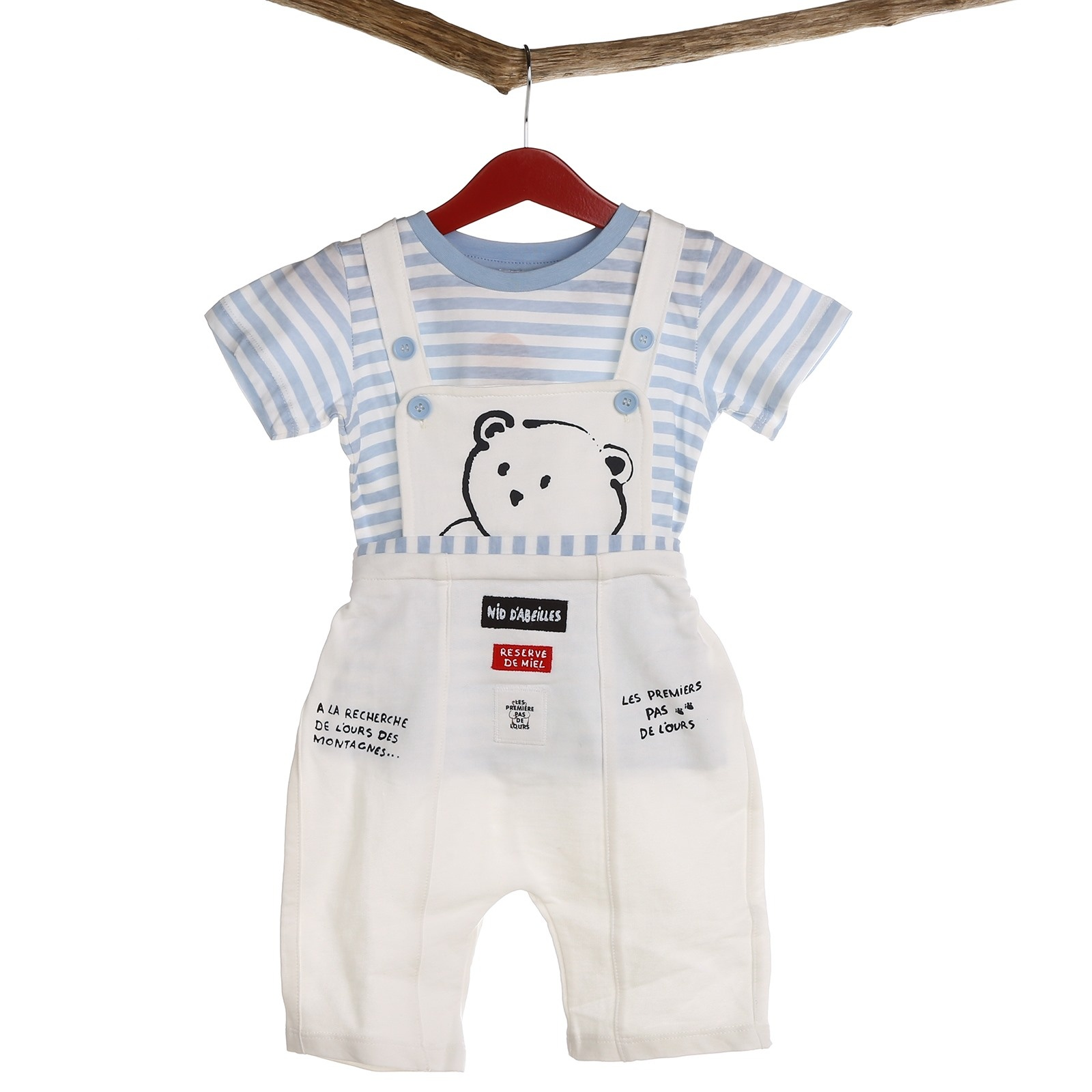 Ebebek HelloBaby Baby Boy Tiny Bear Dungarees Tshirt Set