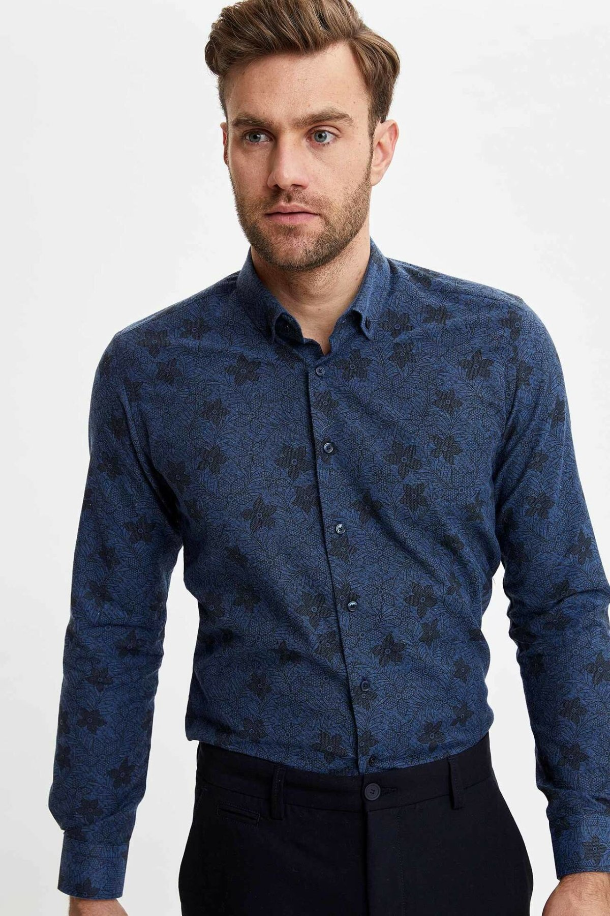 DeFacto Man Casual Dark Blue Shirts Men Floral Print Top Shirts Men Smart Casual Long Sleeve Shirt-N2679AZ19CW