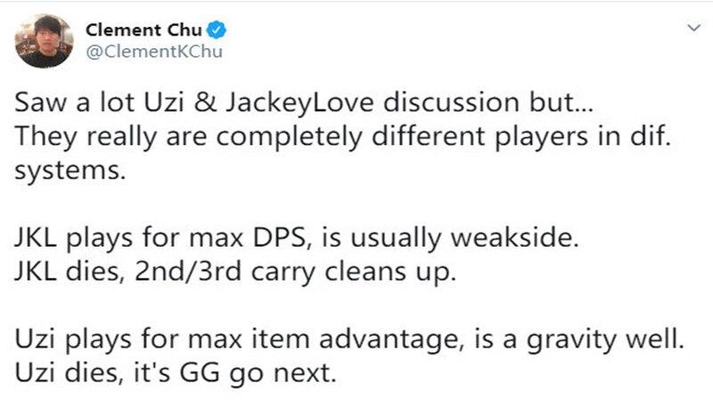 """JKL不算第一AD""就在今天,TES晋级4强UZI登上热搜,官方解说指出差距!插图(4)"