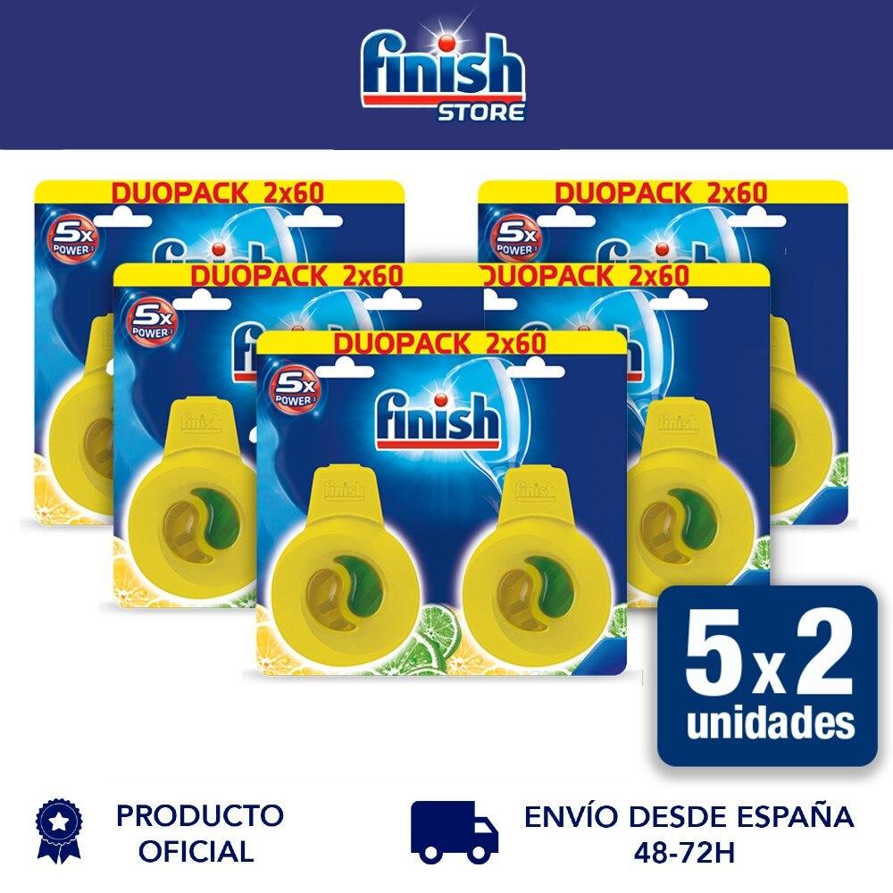 Освежитель воздуха Finish, удаляет запахи для посудомоечной машины, аромат лимона-упаковка 5x2, 10 шт.