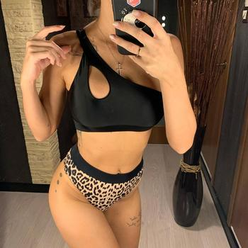 2020 NEW Sexy One Shoulder Bikini High Waist Swimsuit Women Swimwear Bikini set Leopard Bather Bathing Suit Swim Wear Lady V1846 4