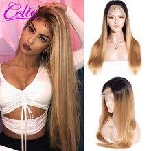 Perruque Lace Front wig naturelle Remy lisse – Celie, cheveux humains, 1B/27, 13x6, densité 200