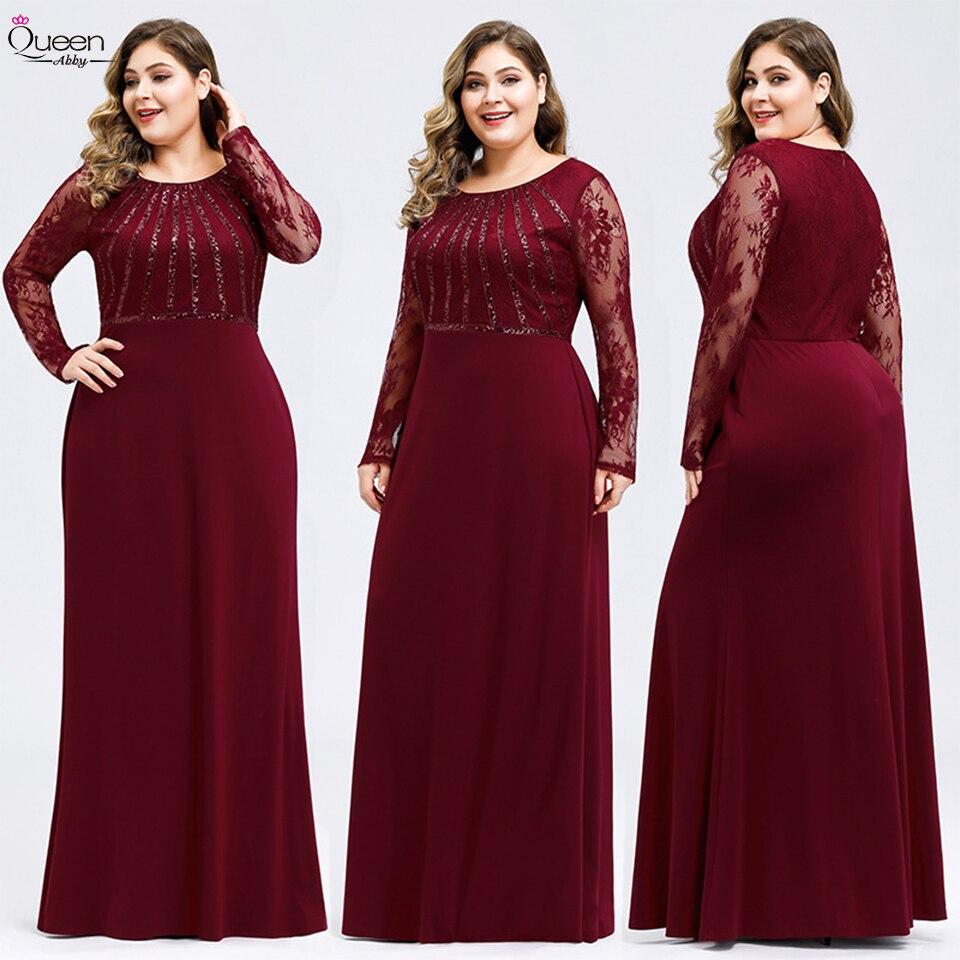 Plus Size Evening Dress Scoop Long Sleeves Lace Mermaid Elegant Dress For Party Vestidos De Fiesta De Noche