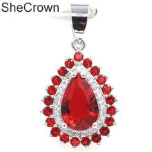 31x17mm Deluxe Drop Shape Red Blood Ruby Natural CZ Gift For Sister Silver Pendant