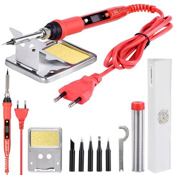 QHTITEC Soldering Iron Kits 908S LCD Adjustable Temperature 80W 220V Keater Strip Rework Station Solder Tip Welding Tools 1pcs solder iron tips t12 series t12 ils dl52 i il j02 jl02 js02 soldering iron tips welding tip soldering welding stings