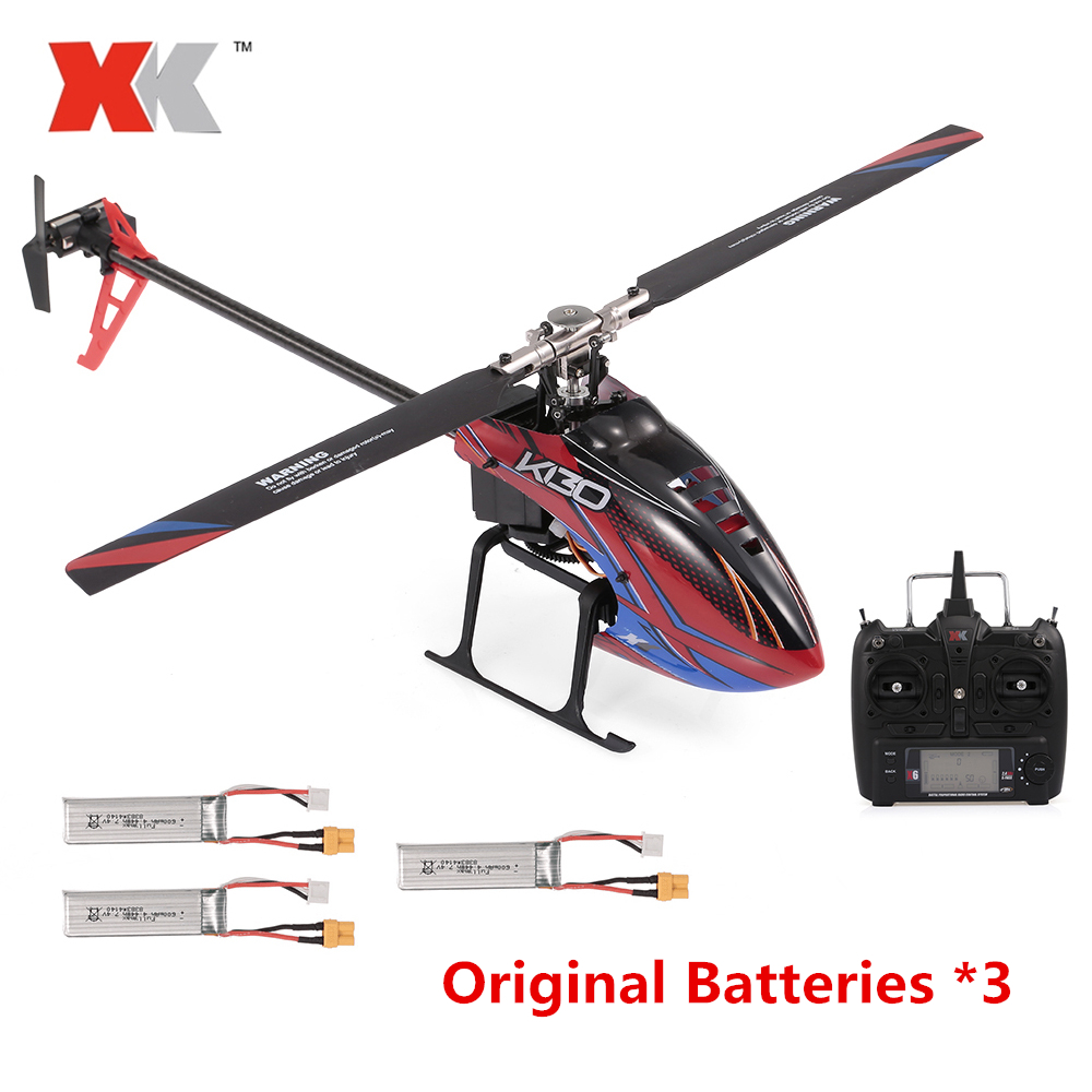 WLtoys XK K130 2.4G 6CH RC Helicopter And Transmitter With 9200KV Brushless 3D6G Flybarless FUTABA S-FHSS Stunt With 3 Batteries