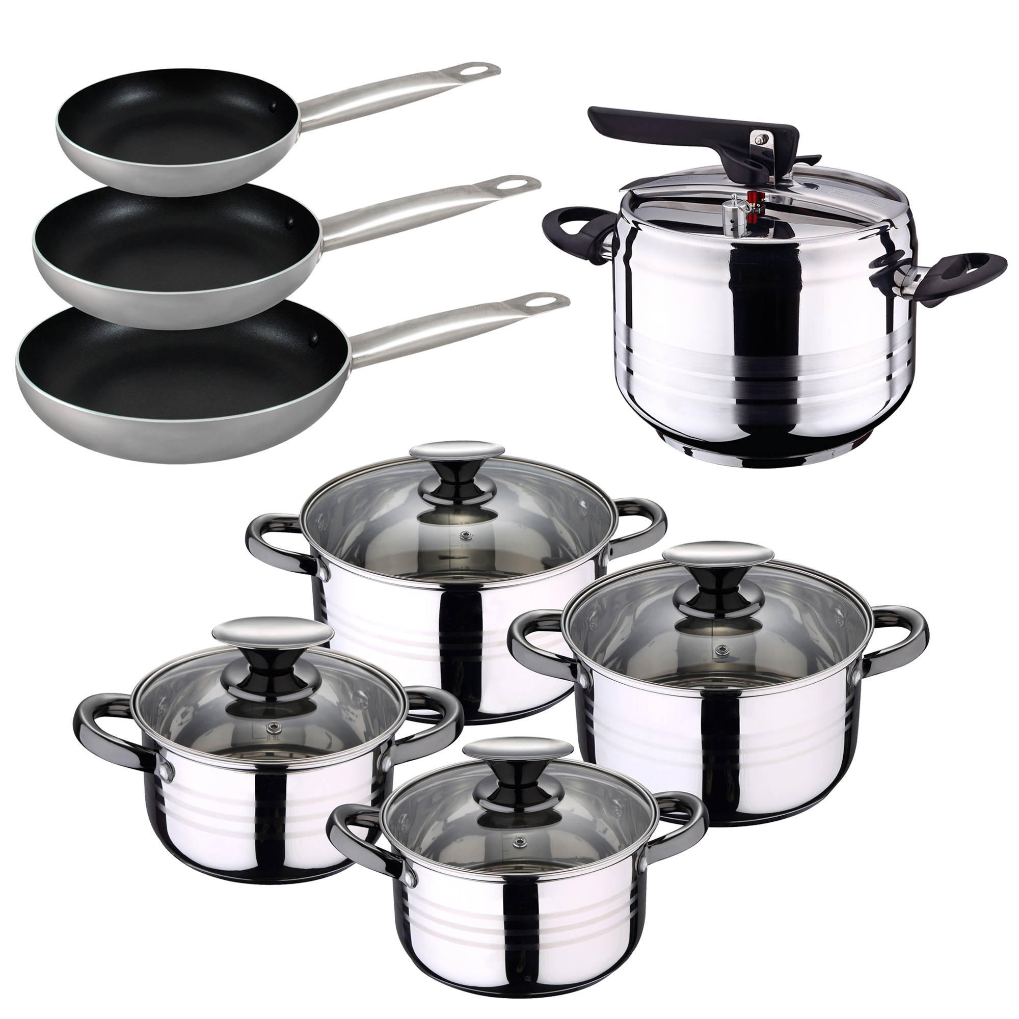 Cookware 8 Pieces  set pans (22  26 30 cm) and pressure cooker 5L in stainless steel SAINT ignacio Professional|Pans| |  - title=