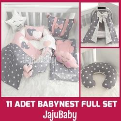 Jaju Baby Babynest Gray and Powder Star 11 Piece Full Set Luxury Baby Nest Baby Sleep Set, Breastfeeding Pillow, Stroller Cover