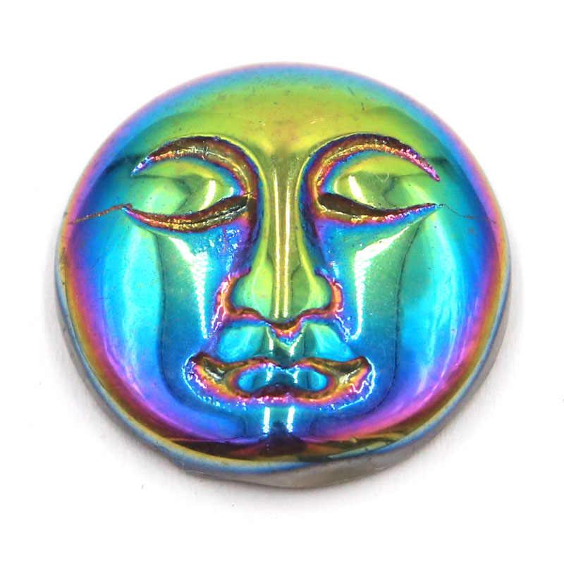 18x18mm diy aura anjo quartzo turquesa arco-íris titânio quartzo lua deusa rosto cabochão cabochão cab grânulo (5 peça)