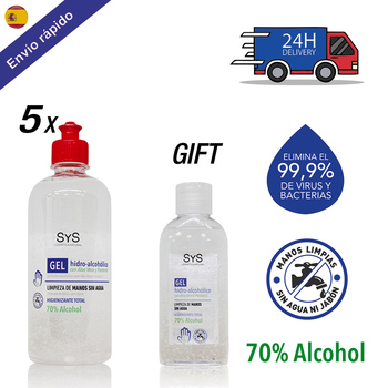 PACK GEL 5 HIDROALCOHOLICO hands 500 ML + 100 ML gift/70% ALCOHOL disinfectant-ANTISEPTICO-cleaning hands-Vitamin B5 недорого