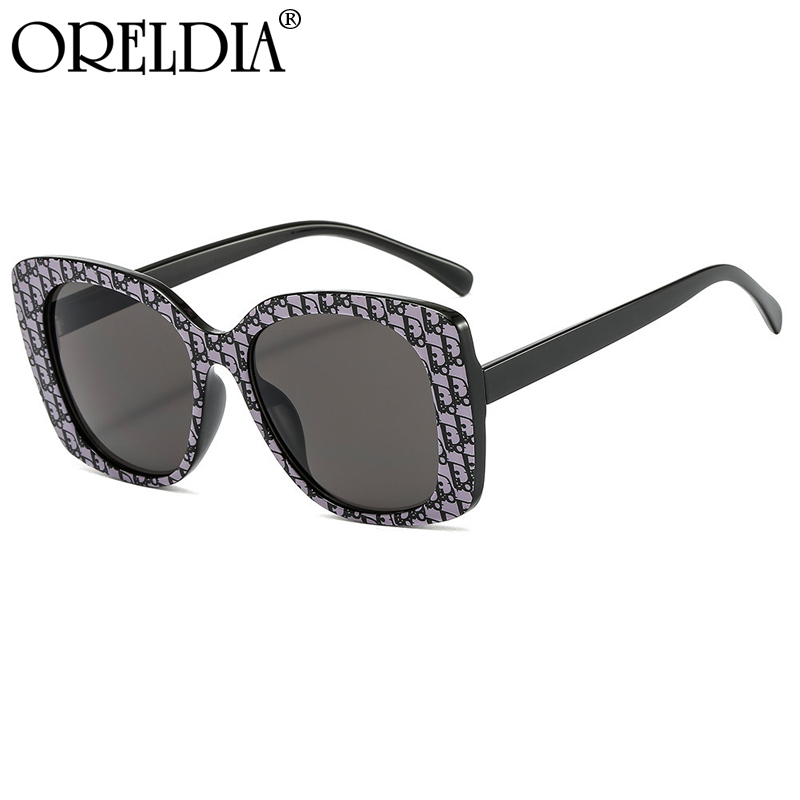 Frame Sunglasses Color-Lens Printed American-Style Fashion Ladies European Retro And