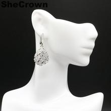48x18mm Gorgeous Drop Shape Created White Sapphire CZ Wedding Ladies Silver Earrings