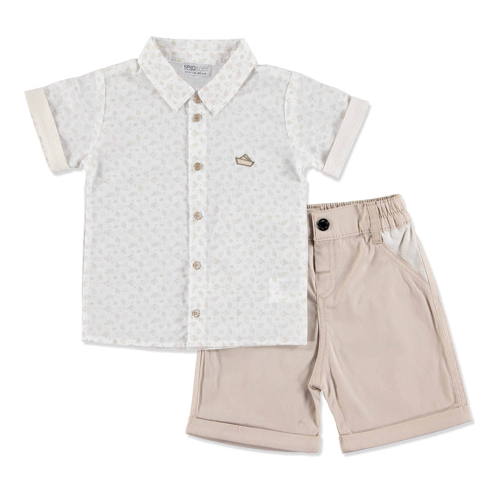Ebebek HelloBaby Summer Baby The Best Sailor Shirt Short Set