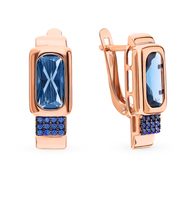 Silver earrings with sapphires and Topaz sunlight sample 925