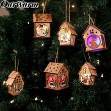 OurWarm DIY Wooden House Christmas Tree Decoration LED Light Hanging Ornaments New Year Gift for Kids