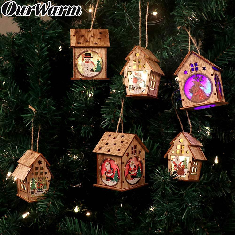 OurWarm DIY Wooden House Christmas Tree Decoration LED Light Hanging Ornaments Wooden House New Year Gift for Kids