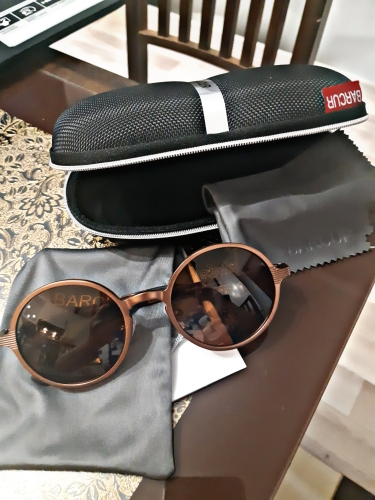 <strong>BARCUR Hot Black</strong> - Goggle Round Sunglasses For Men & Women UV400 photo review