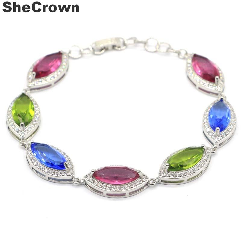 22x12mm Multi Color Created Tourmaline Peridot <font><b>Tanzanite</b></font> CZ Ladies Silver <font><b>Bracelet</b></font> 8-9.0