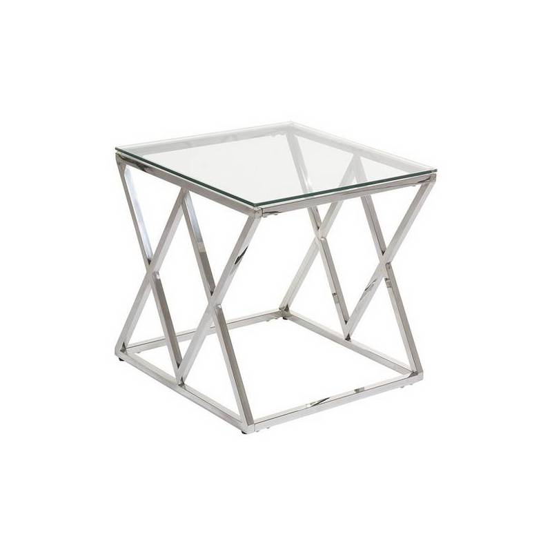 Side Table Stainless Steel Glass (55x55x55 Cm)
