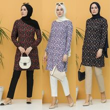 Patterned Tunic Cotton Floral Fabric Unlined Zero  Collar Seasonal  Long  Sleeve Stylish Hijap Comfortable Lady  Muslim Fashion
