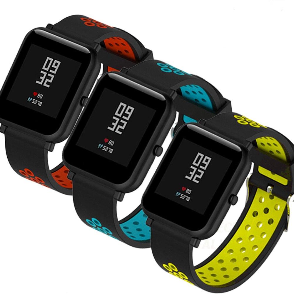 Correas pulsera de recambio para Xiaomi Amazfit BiP Amazfit GTS silicona flexible de colores impermeable y suave cierre de metal
