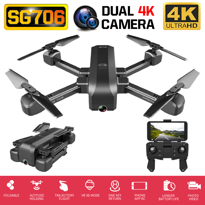 SG706 RC Drone Quadcopter Professional 4K Full HD Dual Camera WIFI FPV Helicopter One Key Return Follow Me Optical Flow PK SG907
