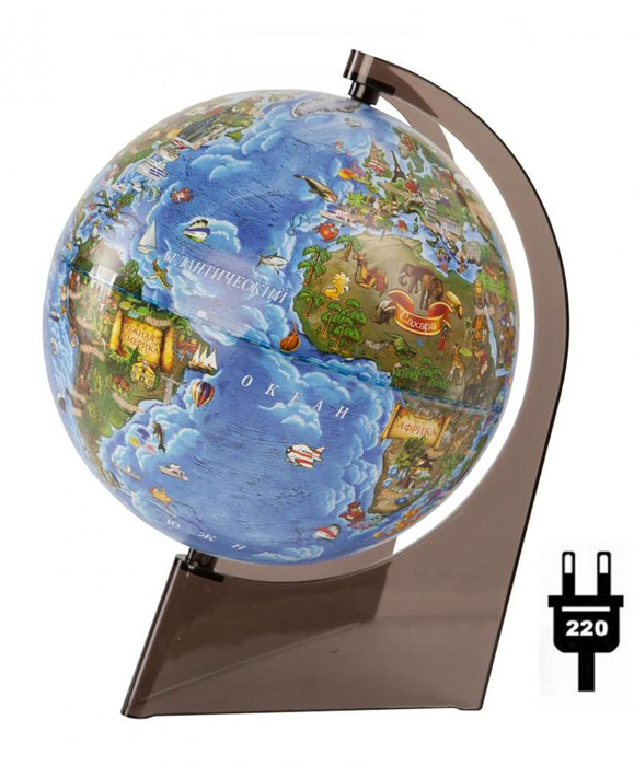 Earth Globe For Children With Light, Diameter 210mm