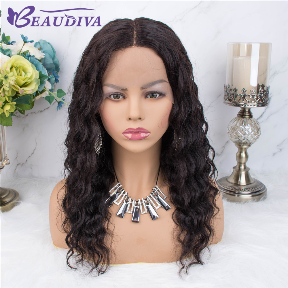 Deep Curly Human Hair Wigs Pre Plucked Hairline Middle Part Bleached Knots Remy Hair Brazilian Lace Front Human Hair Wigs