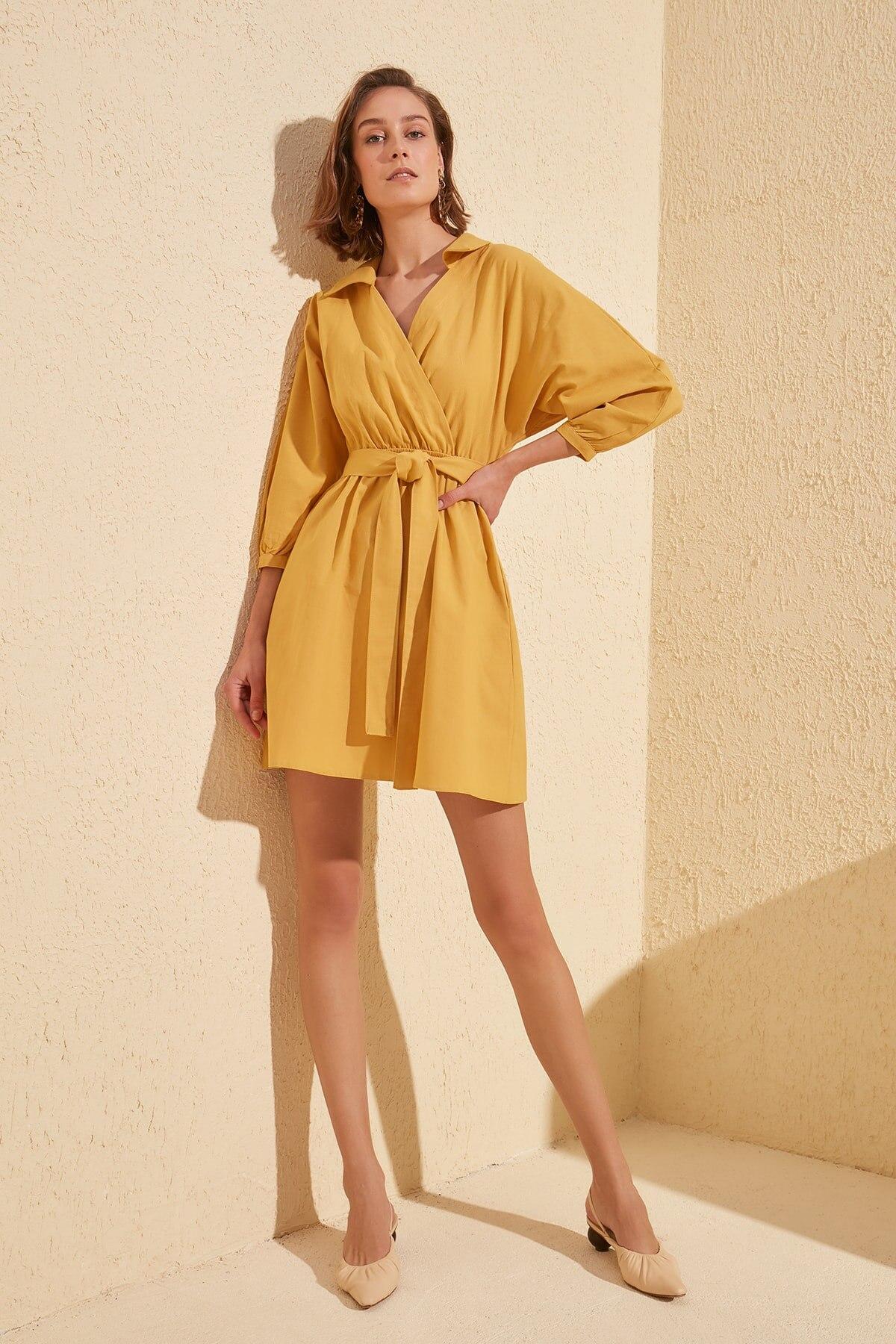 Trendyol Shirt Collar Belted Dress TWOSS20EL0480