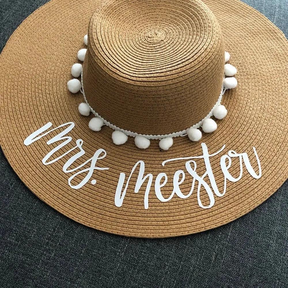 Bride Beach Hat Honeymoon Gift For Her Personalized Mrs Floppy Sun Hat