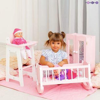 Furniture Toys PAREMO  A set of doll furniture (Chair + cradle + cabinet), Pink for children toys for kids game furniture dolls doll houses furniture for bed for accessories doll for marie a