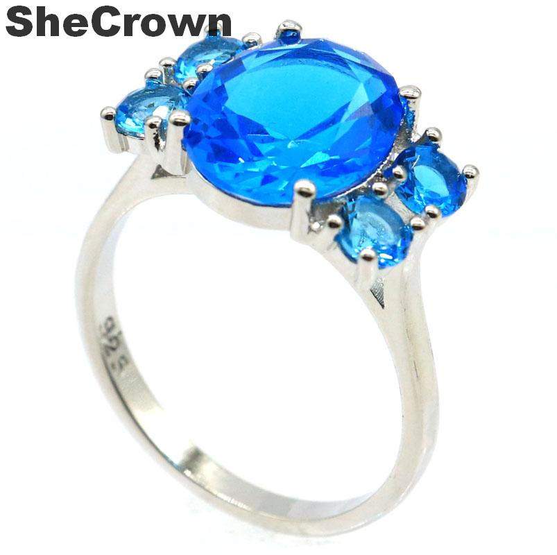18x12mm 2019 New Arrival Created Paris Blue Topaz Gift For Woman's Silver Rings