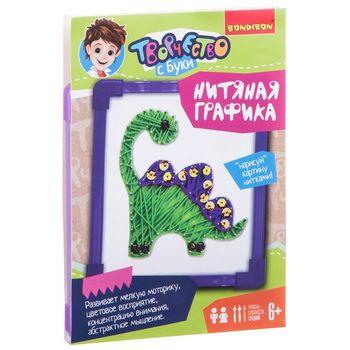 Painting from threads Dino, set for creativity bondibon вв1697