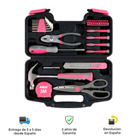 Caja de herramientas, rosa, plastico abs, acero, 39 piezas, resistentes, portatil, calidad, herramientas, herramientas de mano