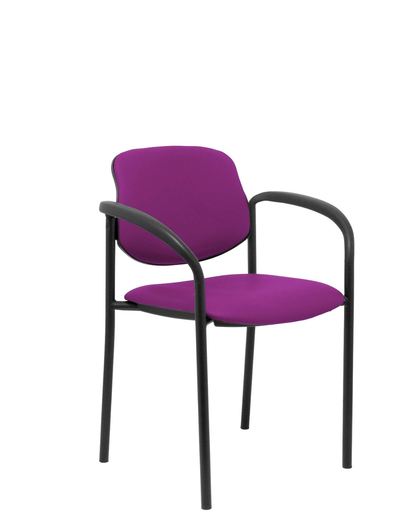 Visitor Chair 4's Topsy, With Arms And Estructrua Negro-up Seat And Backstop Upholstered In Tissue Similpiel Purplish PIQ