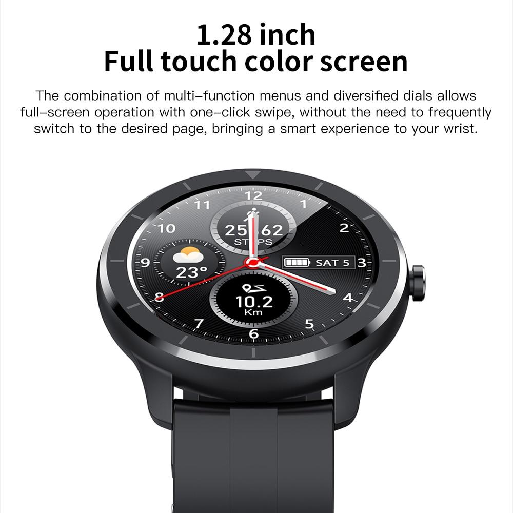 cheapest RUNDOING T6 Full touch round screen smart watch for men IP68 Waterproof  Blood pressure oxygen smartwatch for women