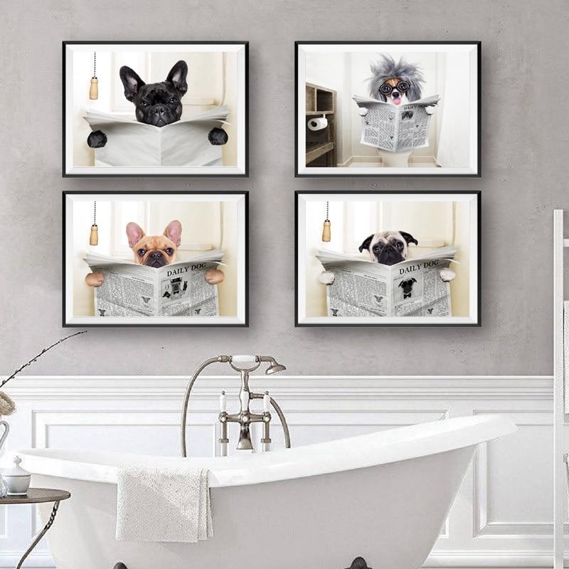 Собака, газета для чтения, туалет, настенный художественный плакат, принты, забавная собака, живопись, Настенная картина, Декор для дома, ван...