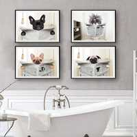 Dog Reading Newspaper Toilet Wall Art Canvas Poster Prints Funny Dog Painting Wall Picture Home Bathroom Decor Dogs Lover Gift