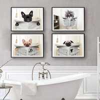 Hund Lesen Zeitung Wc Wand Kunst Leinwand Poster Drucke Lustige Hund Malerei Wand Bild Home Badezimmer Dekor Hunde Liebhaber Geschenk