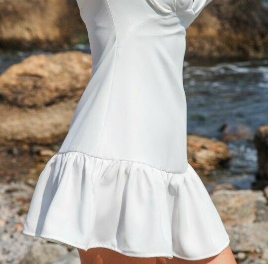 Elegant Slim Women Dress V Neck Lantern Sleeve High Waist Ruffles Mini Dresses Female Casual Spring photo review