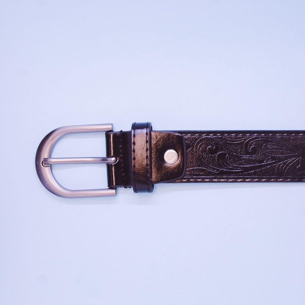 Ceinture unisexe (3 cm, éco-cuir, gaufrage, noir) 52946